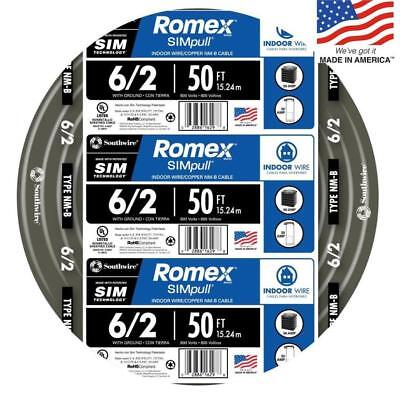 Southwire Romex Simpull 50 62 Non Metallic Wire By The Roll 28894422