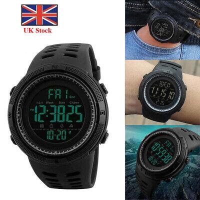 SKMEI Mens 1251 All Black Military Style Army Walking Sports Waterproof Watch UK