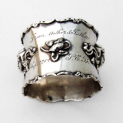 Art Nouveau Ornate Napkin Ring Sterling Silver 1910 Inscribed
