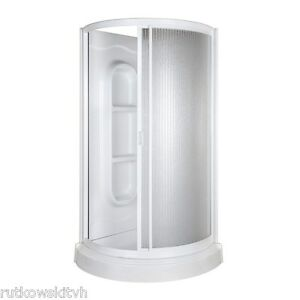 MASCO 34 Inch Aqua Glass High Gloss White Round Corner Shower Kit EBay