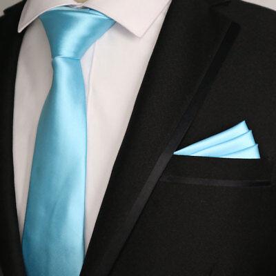 (Solid 7CM Silk man tie handkerchief set Sky Blue Plain Wedding Party Ties Narrow)