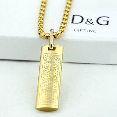 "DG Gold Stainless-Steel BIBLE VERSES Pendant 20"" Box Chain Necklace Unisex + Box"
