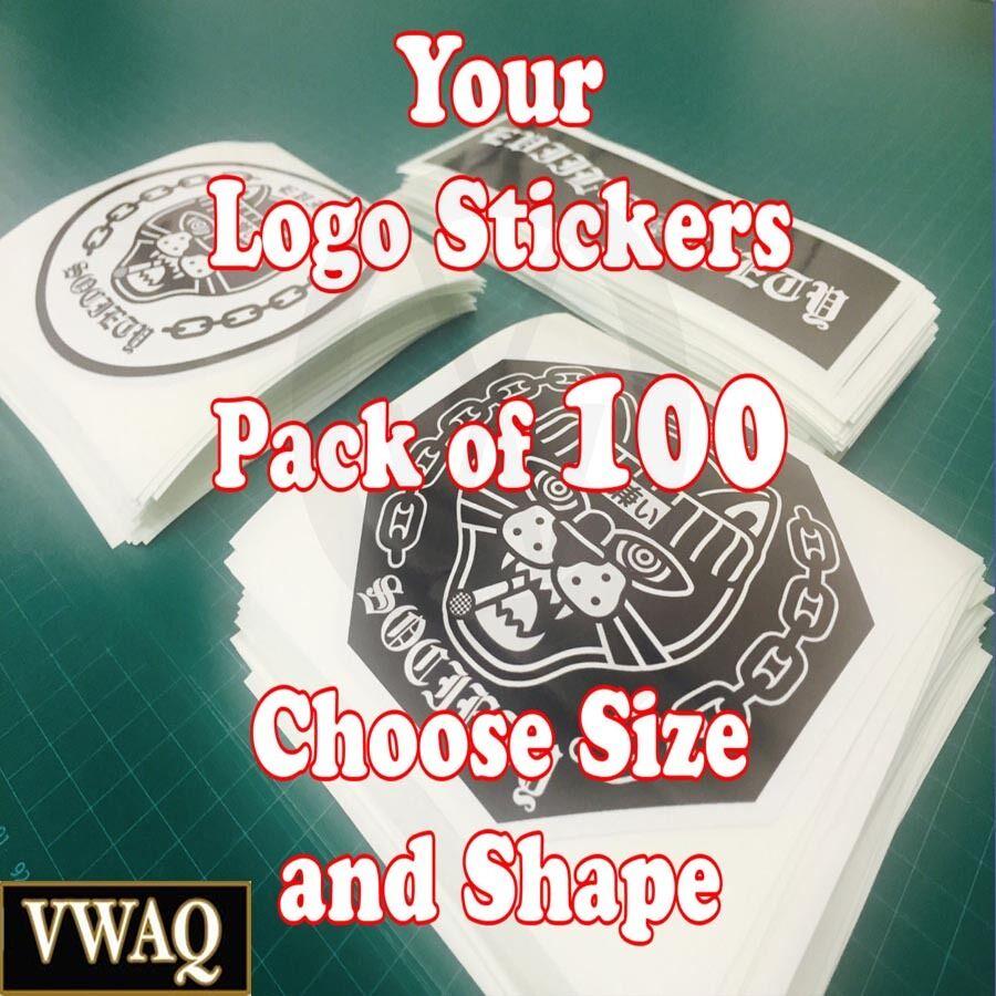 Custom Logo Stickers Pack of 100 Your Logo Design Vinyl Sticker Prints VWAQ