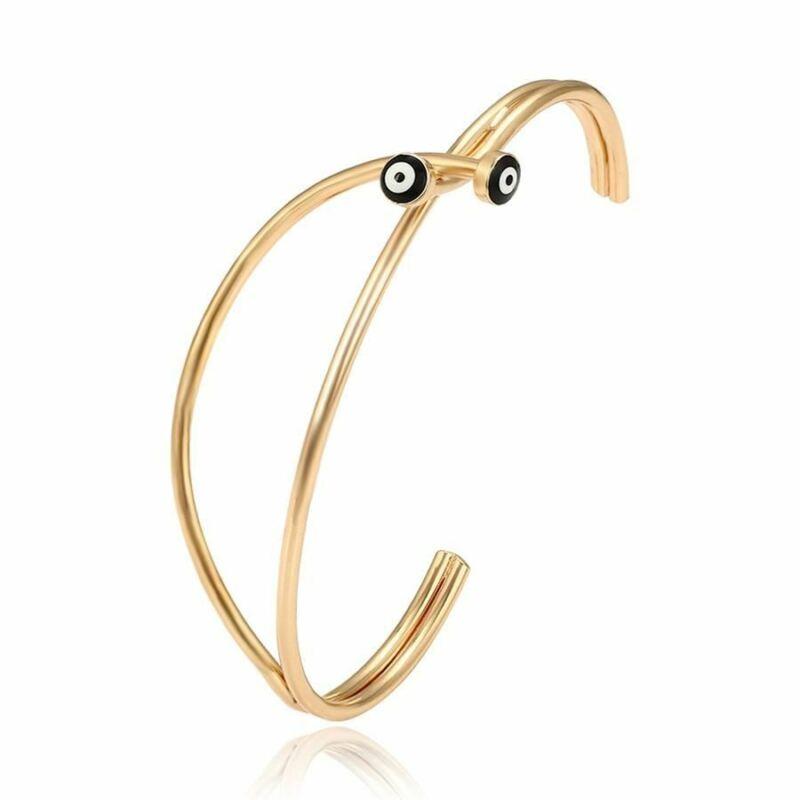 18k Gold Plated Black Evil Eye Protection Women Bangle Open Cuff Bracelet