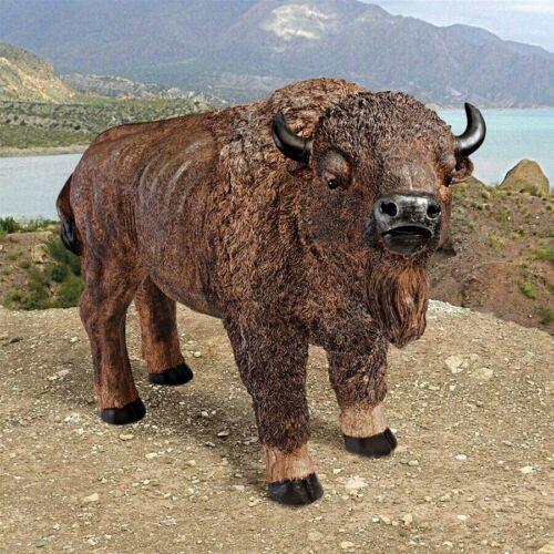 "28"" W American Western Buffalo Symbol of Balance Sculptural Home Gallery Statue"