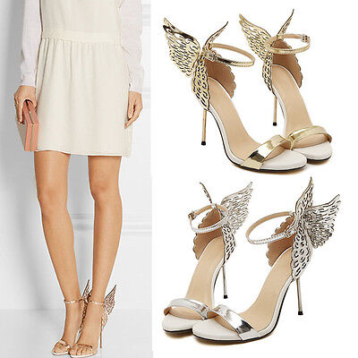 Chic Butterfly Wings High Heels Womens Party Wedding Ankle Strap Sandal Shoes Ankle Strap Wedding Heels