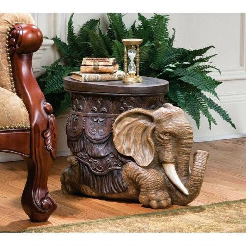 "20.5"" W Exotic Sculpted Fortune elephant free-standing sculpture table footstool"