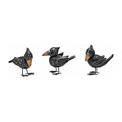 Small Raven Bird Statue Animal Figurine Sculpture Halloween Gothic Decor Art