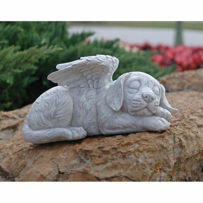 Outdoor SLEEPING ANGEL WING DOG MEMORIAL STATUE GRAVE MARKER Headstone Sculpture
