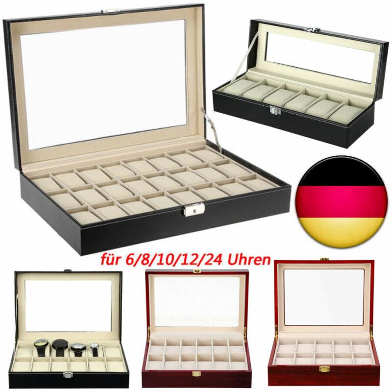 Für 6/10/12/24 Uhren Uhrenbox Uhrenkoffer Uhrentruhe Uhrenkasten Uhrenschatulle