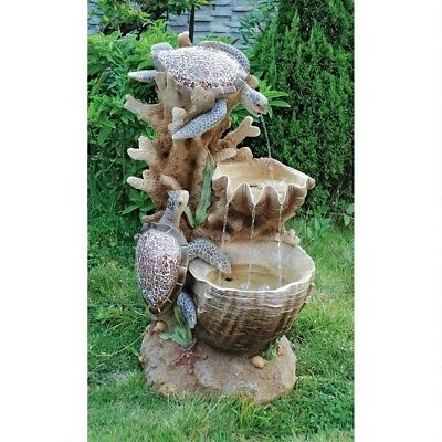 Unique Turtle Cove Cascading Hand Finished Sculptural Resin Home Garden Fountain