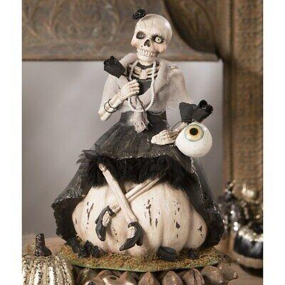 Bethany Lowe Designs: Halloween; Miss Skeleton on Pumpkin TD9075
