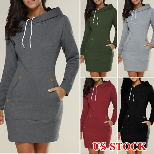 Dress - US Women Casual Hooded Hoodie Long Sleeve Sweater Pocket Bodycon Tunic Dress Top