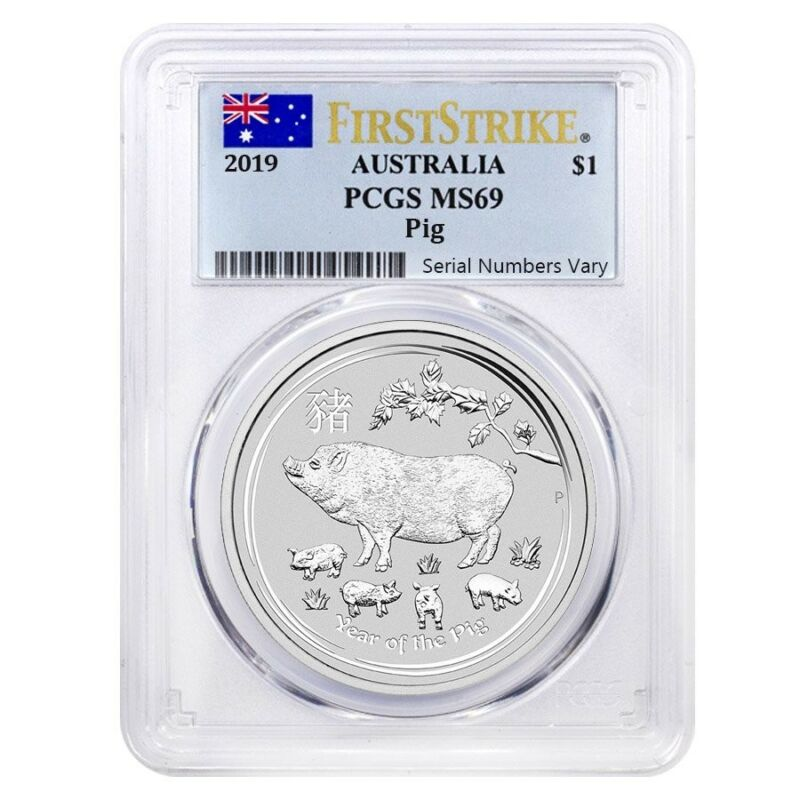 2019 1 oz Silver Lunar Year of The Pig Australia Perth Mint PCGS MS 69 FS