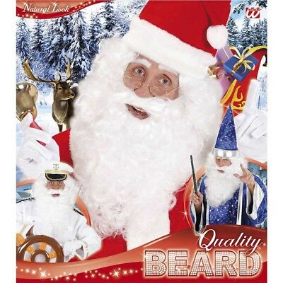 WEIßER DELUXE VOLLBART # Zauberer Nikolaus Weihnachtsmannbart Kostüm Bart 0532