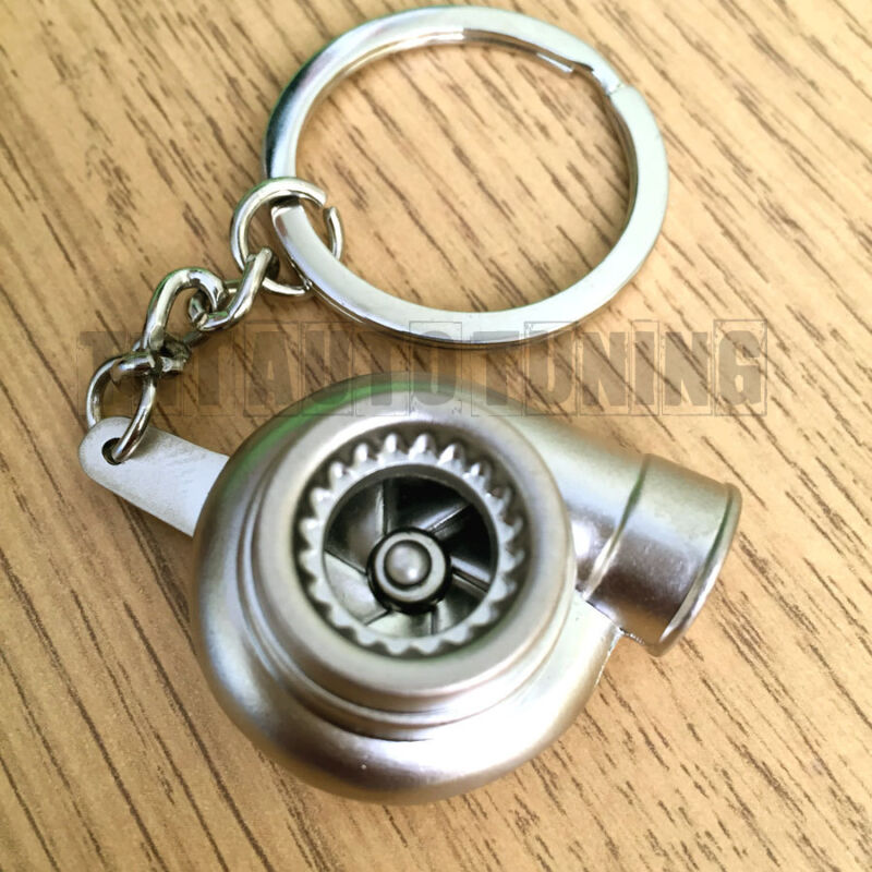 TURBO Charger Keychain Keyring  - Chrome Metal, Spinning TURBINE, NO PLASTIC!
