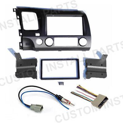 GREY Double Din Car Radio Dash Kit w/ Wiring Harness Fits 2006-2011 Honda