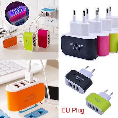 Home Travel Ac Adapter (EU Plug 3.1A USB Port Wall Home Travel AC Charger Adapter For Samsung For iPhone)
