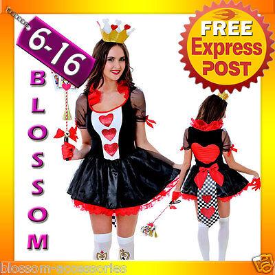 J94 Queen of Hearts Alice In Wonderland Fancy Dress Halloween Costume & Crown