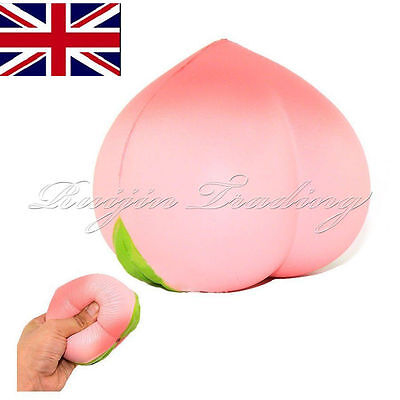 Jumbo Soft Squishy Peach Charms Cream Scented Slow Rising Kids Toy Phone Strap