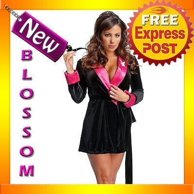 C717 Playboy Bunny Secret Wishes Hugh Hefner Ladies Pink Robe Hens Party Costume