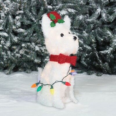 "Christmas Home Decoration 22"" Lightup Fluffy White Terrier Sculpture Outdoor New"