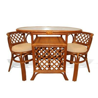 Dining Borneo Set of Oval Table w/ Glass Top an 2 Chairs Handmade Rattan, Cognac