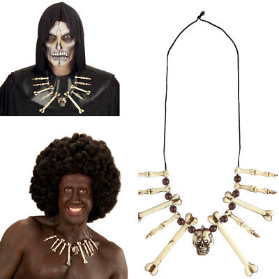 KNOCHEN TOTENKOPF KETTE Höhlenmensch Voodoo Kanibale Afrika Kostüm Schmuck 01204 (Voodoo Kostüm Schmuck)