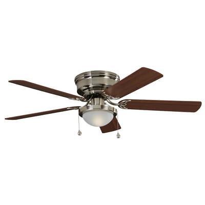 Harbor Breeze Armitage 52-in Brushed Nickel Indoor Flush Mount Ceiling Fan Light