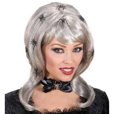 GRAUE SPINNEN PERÜCKE Halloween Hexen Vamp Gothic Witwe Spider Kostüm Party 5946