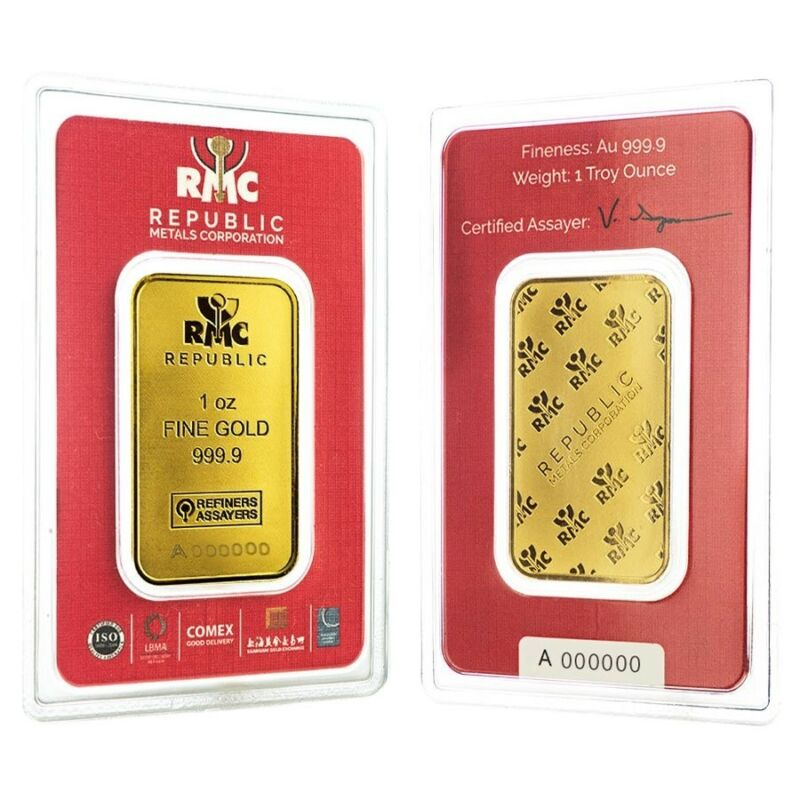 Lot Of 2 - 1 Oz Republic Metals (rmc) Gold Bar .9999 Fine (in Assay)