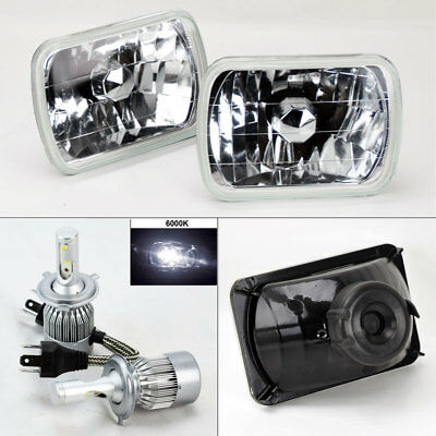 "7X6"" Clear Glass Headlight Conversion w/ 6000K 36W LED H4 Bulbs Pair RH LH Chevy"