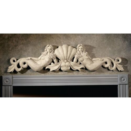 "39"" W Architectural Over The Door European Manor Mermaids Wall decor pediment"