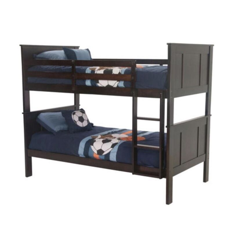 Literas de madera gemelas-Solid Wood Twin Bunk Beds with Detachable Kids Ladder
