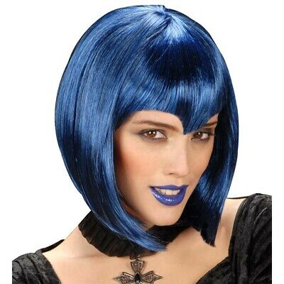 GOTHIC VAMP PERÜCKE blau Hexe Vampirin Dracula Halloween Damen Kostüm Party 0974