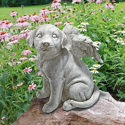 Winged Med Puppy Dog Pet Angel in Heaven Love Lost Companion Memorial Statue NEW