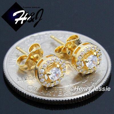 MEN WOMEN 925 STERLING SILVER 7MM LAB DIAMOND BLING ROUND GOLD STUD EARRING*G107