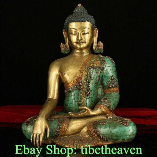 "13.6"" Old Tibet Temple Bronze Turquoise Seat Shakyamuni Amitabha Buddha Statue"