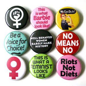 Feminist Riot Grrl Badge Buttons Pinbacks Pins x 9 - 32mm Feminism