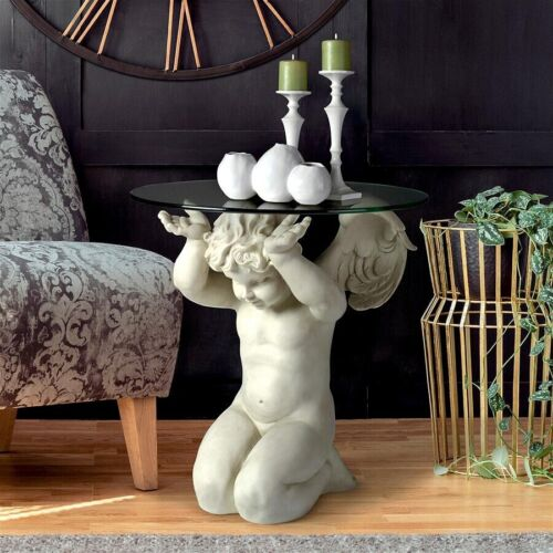 Celestial Cherub Glass Top Angelic Sculptural Accent Table