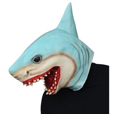 KILLERHAI LATEX MASKE Halloween Karneval Weißer Hai Kostüm Fest Fisch Deko 03304