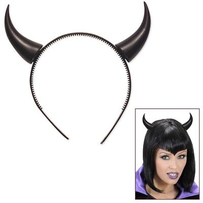 SCHWARZE TEUFELSHÖRNER Halloween Satan Dämon Teufel Hörner Haarreif Kostüm - Satan Teufel Kostüm