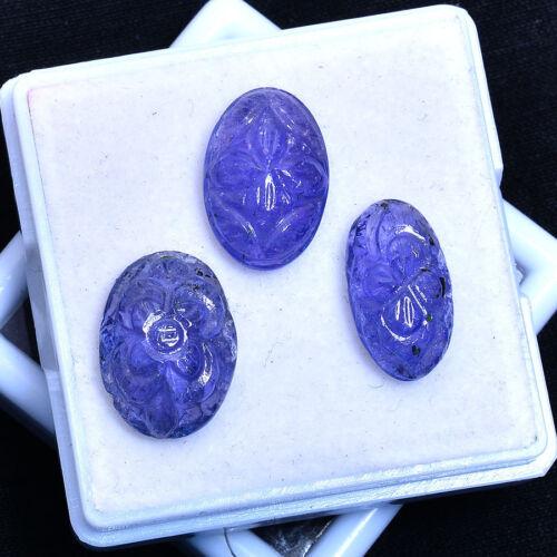22.00 Cts Natural Blue Tanzanite Hand Made Carving 3 Pcs Untreated Gemstones Lot