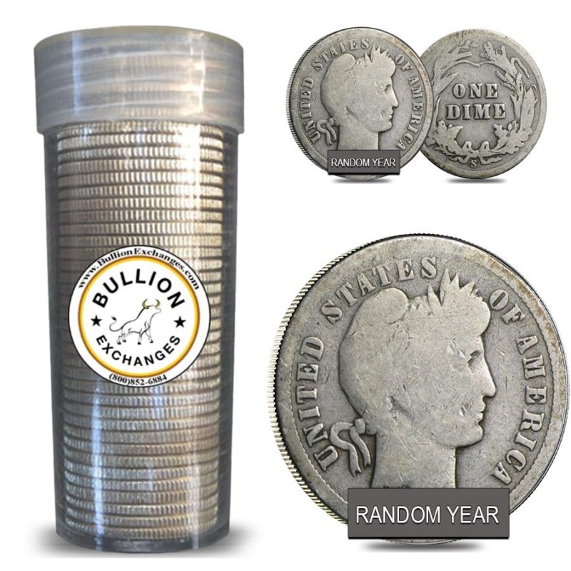 $5 Face Value Barber Dimes 90% Silver 50-Coin Roll (Circulated)