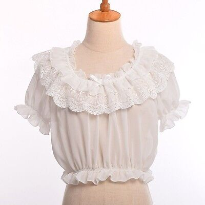 - 1pc Chiffon Lace Bottoming Top Lolita Shirt Girls Puff Sleeve Frilly Blouse