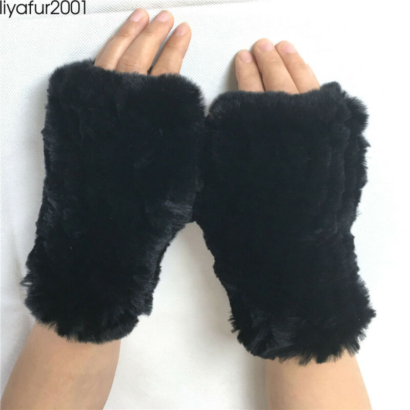 Liyafur 2019 New Style Real Rex Rabbit Fur Knit Finger Less Mittens Women Gloves