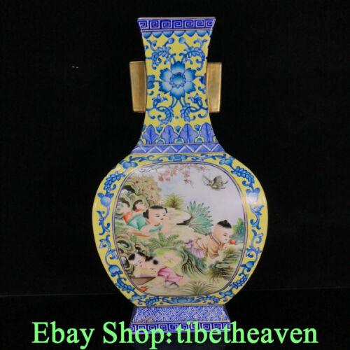 "14.4"" Yongzheng Old Chinese Colour Enamel Porcelain Gilt Tongzi Flower Vase JL"
