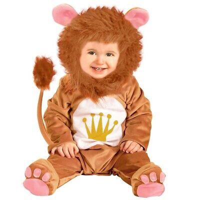 BABY KLEINKIND LÖWEN KOSTÜM Overall mit Mähne Karneval Lion Kinderkostüm 80/86