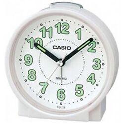 Casio #TQ228-7D Round Travel Table Top Alarm Clock White