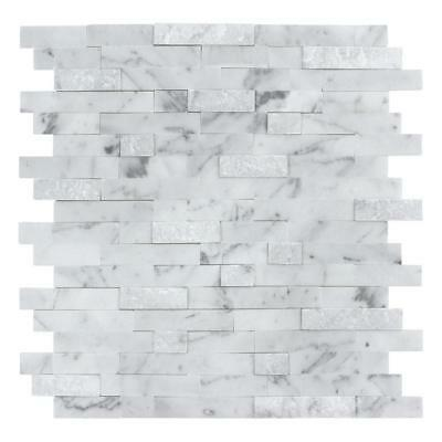 Mosaic Floor Tile - Peel and Stick Classic Linear Grey White Stone Mosaic Tile Backsplash MTO0213